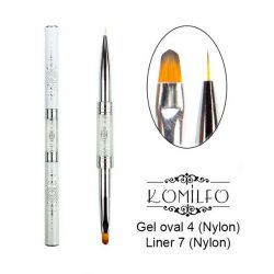 Кисть Komilfo Double Gel oval 4 (Nylon)/Liner 7